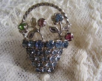 Vintage Blue Crystal BROOCH Pin