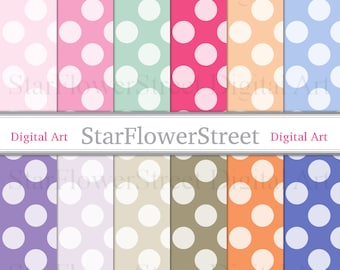 Polka Dot Digital Paper big polka dot printable scrapbook paper pink paper digital pattern girl background party