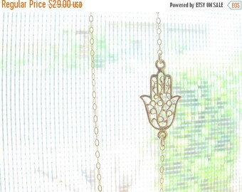 SALE - Gold Hamsa necklace, Hamsa necklace, Dainty Hamsa necklace, Hamsa charm, 14k Gold filled necklace, Sideways Hamsa necklace, Silver ha