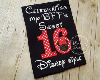 Disney-Inspired Birthday Shirt - Sweet 16 BFF- Custom Birthday Tee 802c black red girl