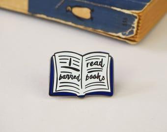 Banned Books Enamel Pin -  Book Enamel Pin Badge - Literature Jewellery - Gift for Book Lover - Reading Pin  - Bookish Enamel Pin