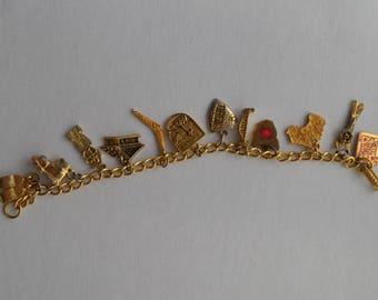 Vintage Gold Plated Travel Charm Bracelet