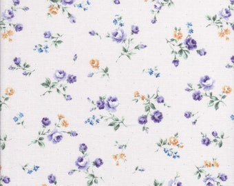 Flower Fields - Small Rose Fabric - Small Floral Fabric - Lavender Fabric - Lecien Fabric