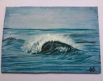 original ACEO ATC  acrylic painting Sea surf art 'Deep depths' collectable miniature art