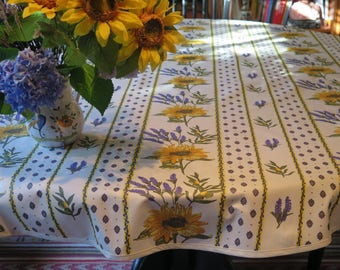 Round Oilcloth Tablecloth , Cotton Coaed. Bistro Tablecloth Up To 60u0027u0027  Diameter.
