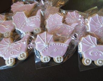 Baby Shower Carriage Vanilla Sugar Cookies - 1 Dozen