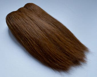 Super soft straight weft mohair, weft for mohair wig dolls, middle brown