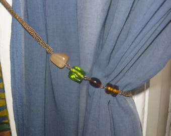 beaded curtain tie backs, OOAK curtain tie backs