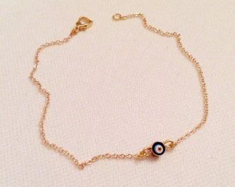 Tiny Evil Eye Gold Pated Bracelet, Gold Evil Eye Charm Bracelet, Protection Bracelet, Amulet Jewelry, Best Gift, Nazar Jewelry for Her