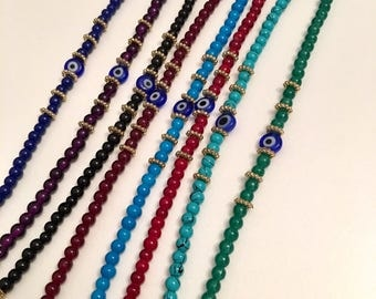 Colorful beads evil eye charm bracelets, Evil eye jewelry, Lovely bracelets, Cute Frienship bracelets, Good kuck bracelet, Gift for Her,