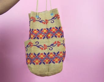 VTG 70s Tan, Multi Colored Mexican Floral Stitched Large Burlap Bucket Bag, Retro