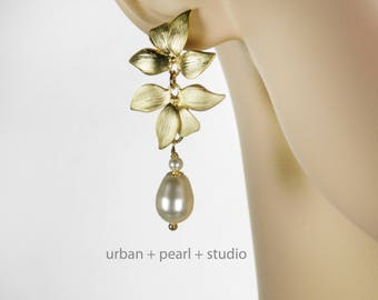 Gold Orchid Flower Earrings Long Pearl Bridal Drops Swarovski Pearls Matte Gold
