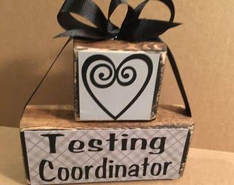 Wooden block set, testing coordinator, school decor, office decor, gift