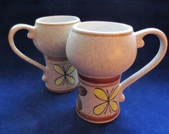 Pair of 1970s Stoneware Latte Mugs Butterflies Vintage Otagiri Stoneware Handpainted