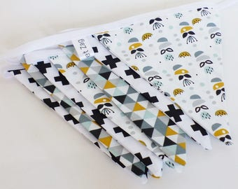 Garland 9 large flags in fabric geometric style Scandinavian mustard tones, mint, grey and black and white