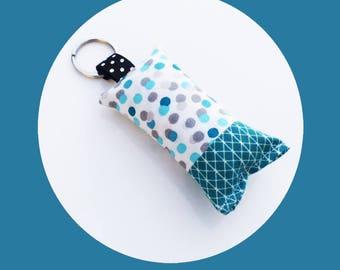 Keychain fabric polka dots and blue Argyle