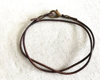 Leather Necklace - Brown Leather Necklace - Plain Leather Necklace - Men's Leather Necklace - Women's Leather Necklace - Leather Necklace