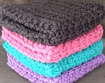 Hand Knit Dish Cotton Cloths Set of 4