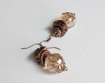 Bronze and amber colored glass bead earrings