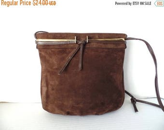 ON SALE Vintage 60's Brown Suede Purse, Brown, Suede, Leather, Purse, Spaghetti strap, Block