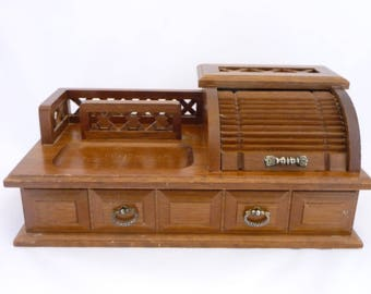 wooden jewelry box roll top desk jewelry storage ring storage necklace - Rolltop Desk