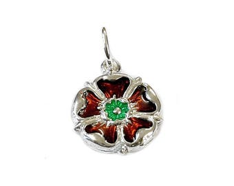 Sterling Silver Enamelled English Rose Charm For Bracelets