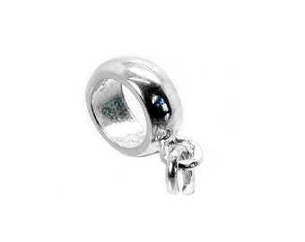 Sterling Silver Rounded Dangle Charm Slider