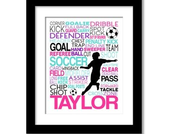 Girl's Soccer Typography Poster  Girl's Room Art, Personalized Gift for Soccer Player, Soccer Team or Coach
