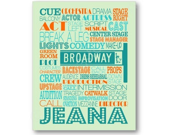 Acting Typography Poster Print, Broadway Terms Art, Actress Gift, Actor Gift, Gift for Actor or Actress, Broadway Play Performer Art Canvas