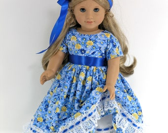 Handmade 18 inch Clothes For American Girl Doll - Dress, Pantalettes, Hair Ribbon - Blue, Yellow Floral - Shoes, Socks Option