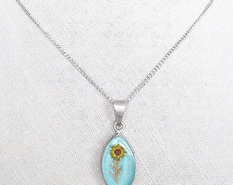 Unique flower necklace for women, something blue cameo, antique silver aqua blue necklace, turquoise blue edelweiss jewelry gift for summer