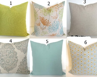 ORANGE PILLOWS Green Decorative Pillow covers Spa Blue Pillow Covers Tan Pillows 16 18 20x20 All Sizes. Grey Floral Decor Brown Pillow