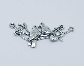 Silver Birds on a Branch Pendant