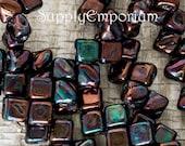 Jet Iris Luster Czech Glass Two Hole 5mm MINI Silky Beads - 40 beads - Jet Iris Luster Mini Silkies - 4843
