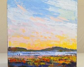 Modern Seascape painting | Ocean Sunset Beach painting | Textured Knife | Sandy point| Plum island|  Original Acrylic| 10 X 10 canvas