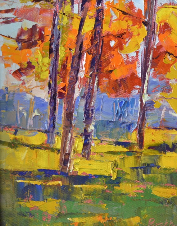 """New England fall, Trees in autumn, Fall colors, palette knife, texture, painting on canvas, Landscape painting, 10"""" X 8"""", Original oil"""