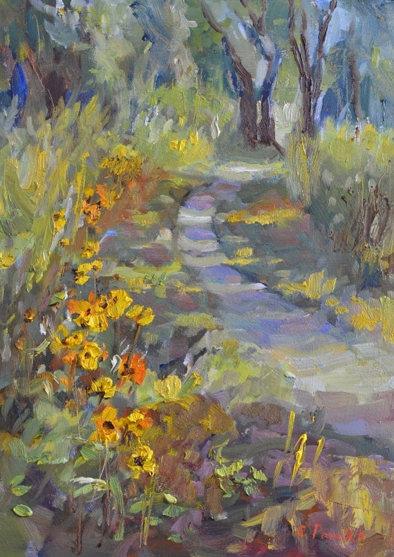 "Oil painting, Landscape,  Original impressionist, fine art, Trail path, wild flowers, nature painting, 12"" X 9"", american realist"