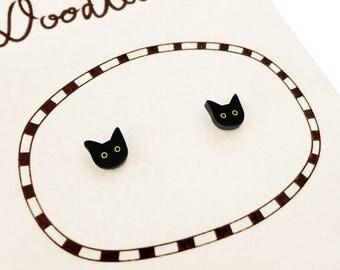Black Cat Earrings, Cat Jewelry, Tiny Earrings, Cat Jewellery, Halloween Earrings, Halloween Jewelry, Shrink Plastic