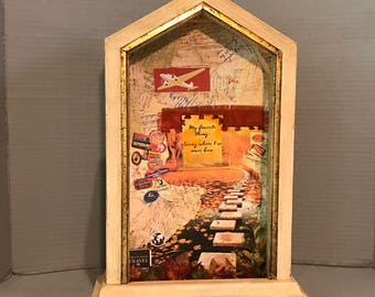 Vintage Clock, Artist Collage, Hand Picked, Travel, Adventure, Memories, Sightseeing