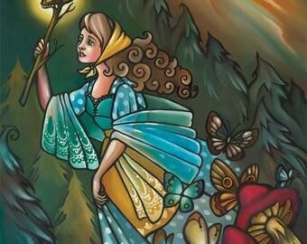 Vasilisa the Brave 12x16 Oil Painting Russian Fairy Tales