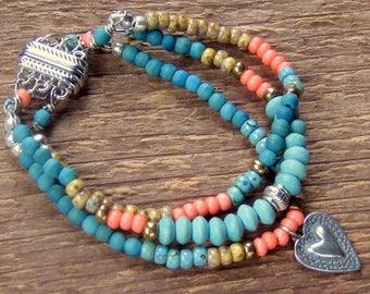 Heart Bracelet, Charm Bracelet, Beaded Bracelet, Magnetic Bracelet, Multiple Strand Bracelet, Bohemian Jewelry, Boho Bracelet