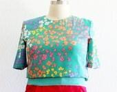 Plus Size - Vintage Neon Floral Waistband Blouse (Size 16)