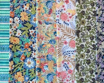 "Pack of 6 Liberty London Tana Lawn 8"" x 12"" pieces"