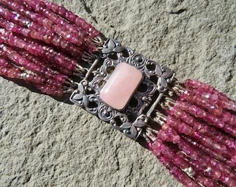 Tourmaline Bracelet,Pink Bracelet,Multi Strand Gemstone Bracelet,Repurposed Jewelry,Rose Quartz Jewelry,Pink Jewelry,Pink TourmalineBracelet