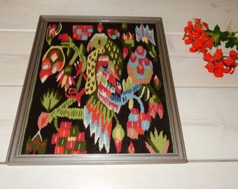 Swedish hand woven wall hanging /flamsk / flemish / rare / 1960s / wool / a bird / Sweden / antique