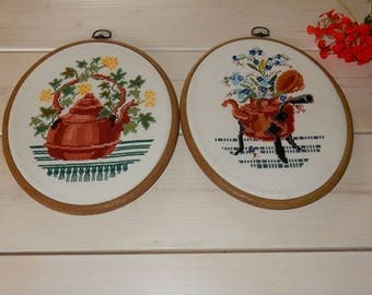 Swedish hand embroidered wall hanging 1970 s  / flowers in a pot / set of 2