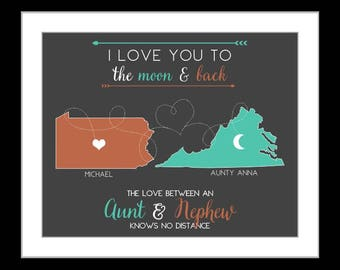 Long distance aunt, christmas gifts, aunt uncle, christmas gift for aunt, quotes custom map art print christmas aunt uncle niece auntie gift