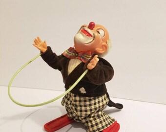Vintage Wind Up Clown ca. 1950's jump rope
