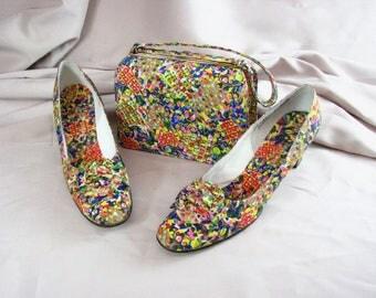 1960s Matching Psychedelic Shoes/John Jerro  &  Handbag/Nicholas Reich .......shoe size 9 1/2 N