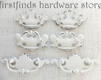 6 White Shabby Chic Drawer Pulls Furniture Handle Swing Hardware Pairs Dresser Chippendale Cabinet Painted Misfit 3inch ITEM DETAIL BELOW